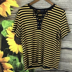 Chaps Short Sleeve Striped Top